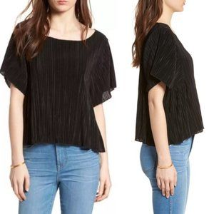 MADEWELL Micropleat Top In True Black Short Sleeve